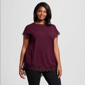 Ava & Viv eyelash lace plum color blouse 1X